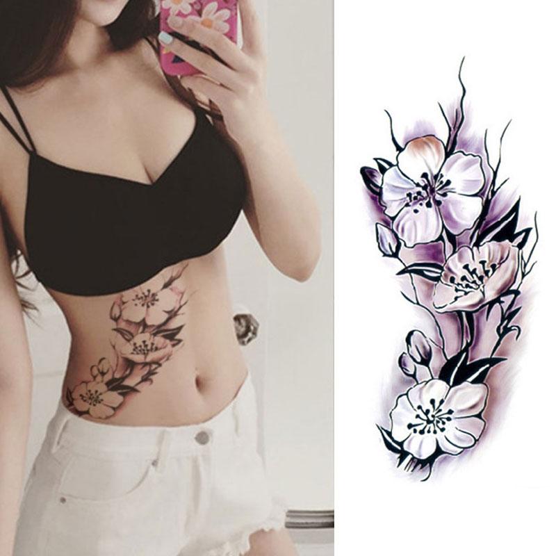 Black rose temporary tattoos body sticker tattoo paper for Fake body tattoos
