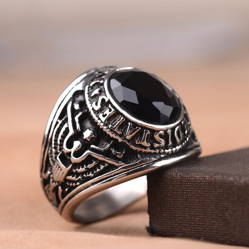 Size 7//8//9//10//11//12//13 Men Stainless Steel Luxury Crystal Army Military Rings