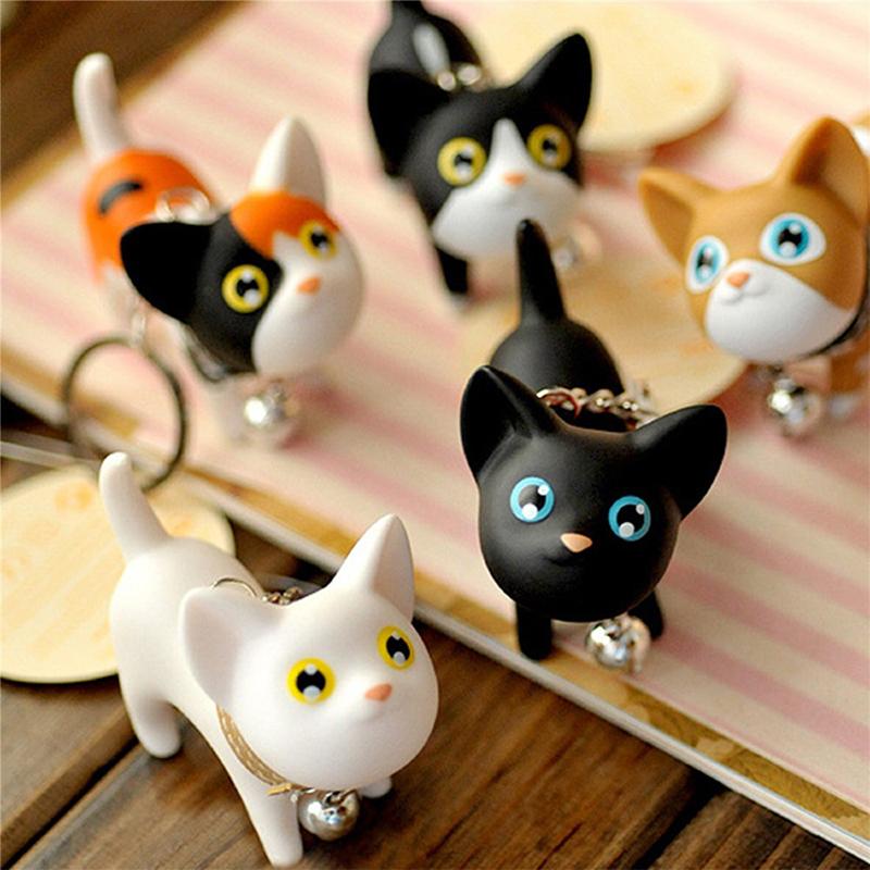 Cat Kitten Keychain Keyring Bell Toy Lover Key Chain Rings For Handbag Lovely US