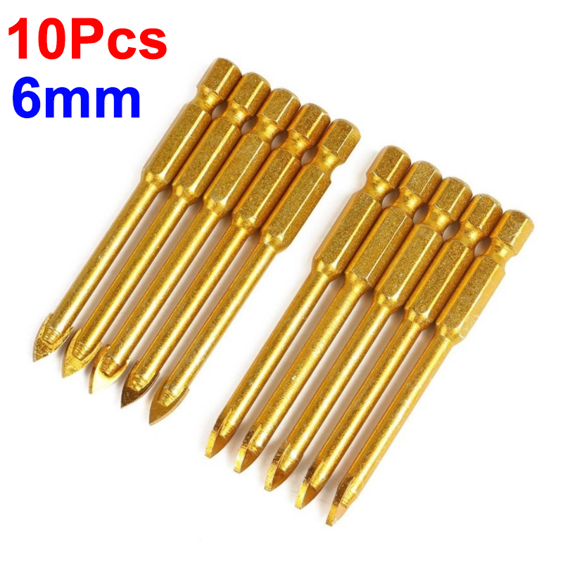 10x Titanium Ceramic Tile Glass Drill Bits Tungsten