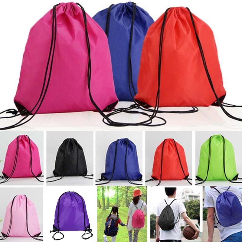 New School Drawstring Bag Sport Gym Sack Swim PE Kit Shoe Sports Backpack