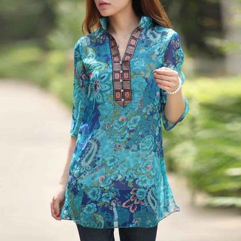 Women Fashion 1/2 Sleeve Floral Shirts Blouse Chiffon Lady Long Tops Dress UV