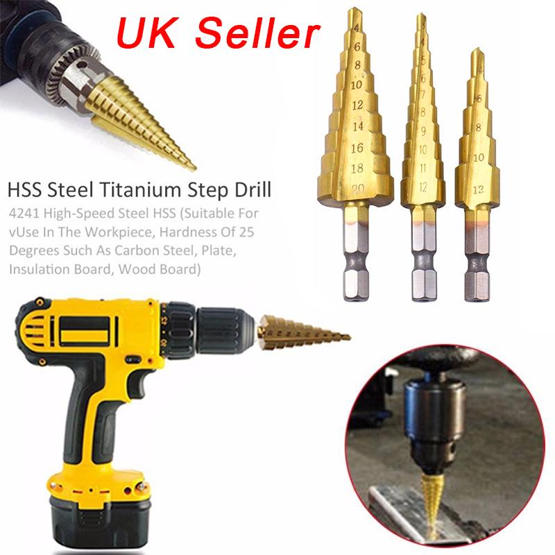 3PCS HSS Step Cone Drill Bit Set HSS Steel Titanium Hex Shank Hole Cutter UK