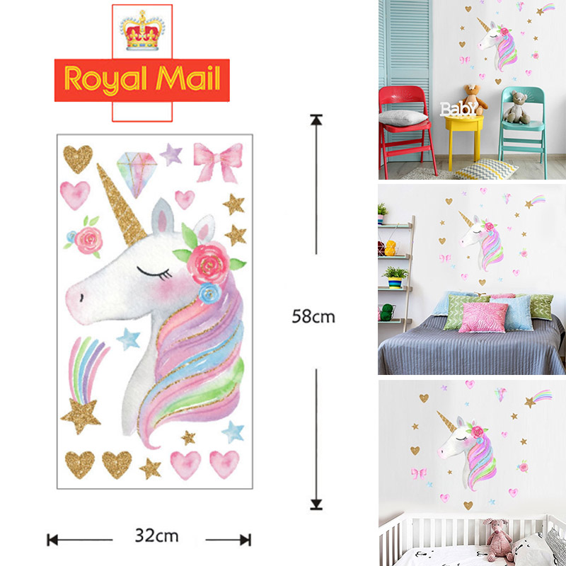 Magical Unicorn Horse Stars Children Wall Stickers Girls Decor Decal Uk Home Diy Ebay