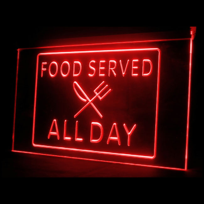 110004 Food Served All Day Restaurant Delicious Buffet Ice Cream LED Light Sign