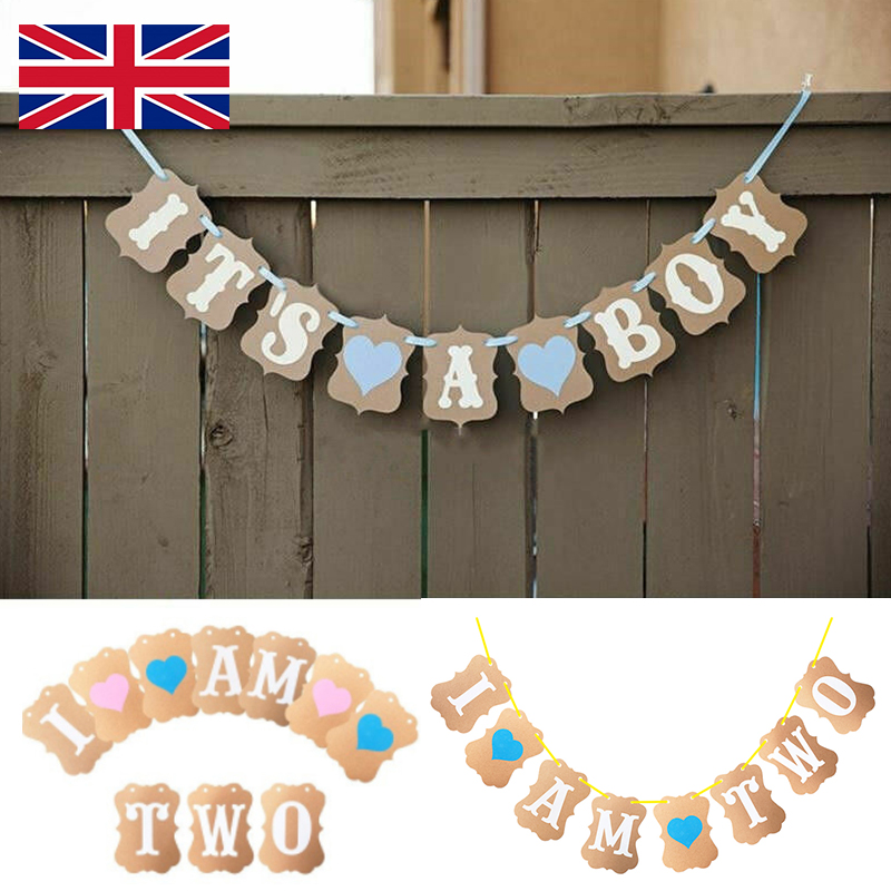 I Am Two Bunting Garland Banner For Baby Girl Boys 2nd Birthday Party Prop Decor