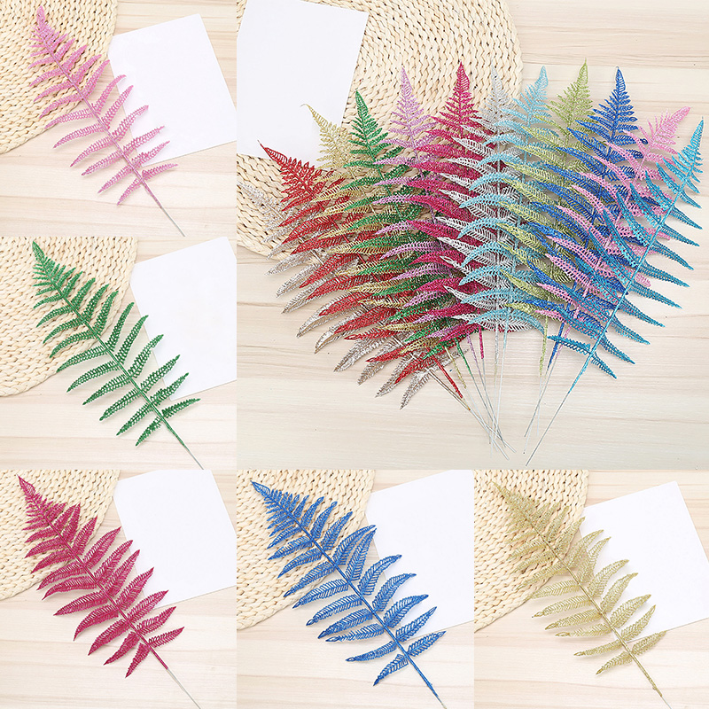 Glitter Christmas Flower Leaves Xmas Tree Party Wedding Decoration Supplies 1pc
