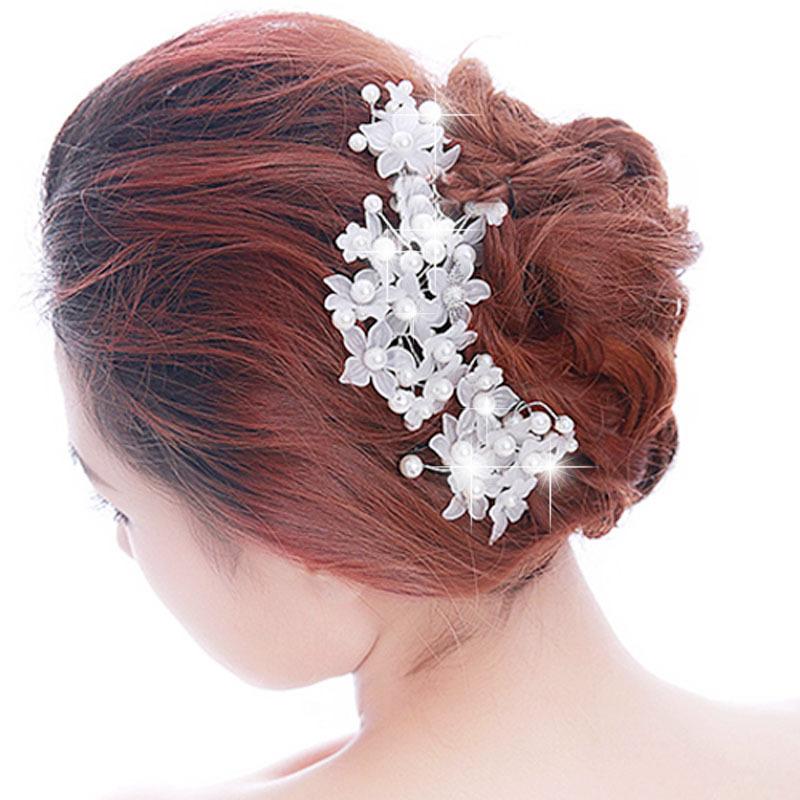 Wedding Bride Lace Pearl Headwear Bridal Flower Hair Clip White
