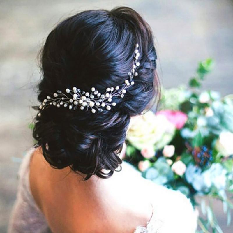White bridal Hair Piece Diamante hair piece Bridal hair accessory Wedding Hair Accessory Diamante bridal hair chain brides hair piece