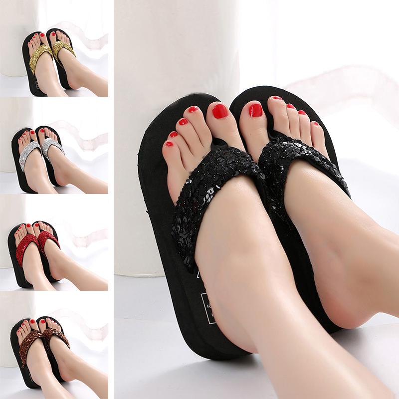 Summer Women Sequin Wedge Platform Thong Flip Flops Sandals Beach Slippers Shoes | eBay