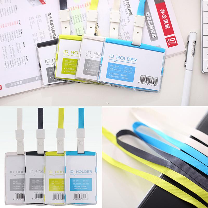 Hard Plastic Pocket ID Card Credit Badge Name Tag Holder Neck Strap Lanyard