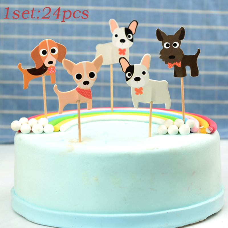 Surprising 24Pcs Party Supplies Insert Card Dog Cake Topper Paper Birthday Personalised Birthday Cards Paralily Jamesorg