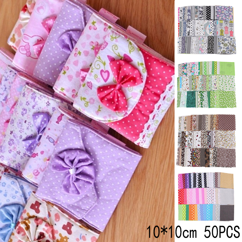 30//50pcs Cotton Printed Fabric Flower Heart Patchwork Bundle for Crafts Project