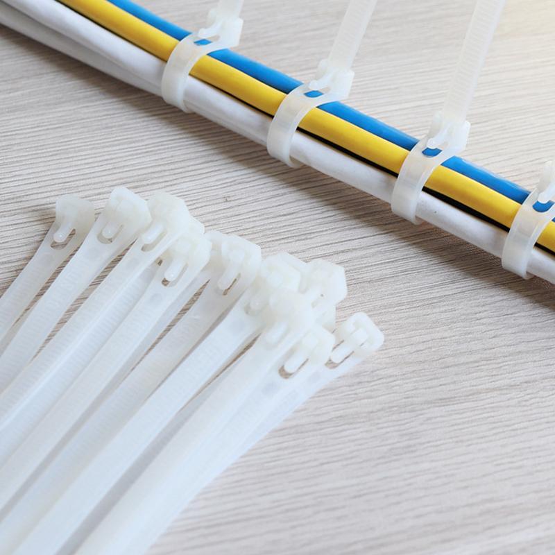 150//8 250//8 100pcs//Bag Reusable 5 200//8 300 Plant Cable Ties Black White