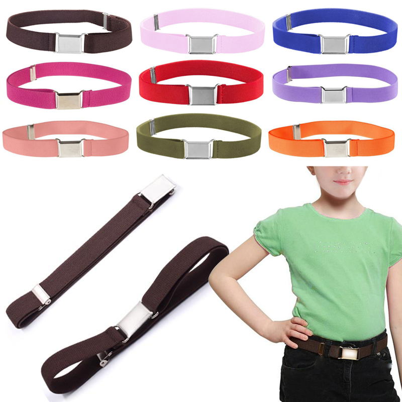 Kids Toddler Boy Girl Belt Elastic Adjustable Stretch Belts Silver Square Buckle
