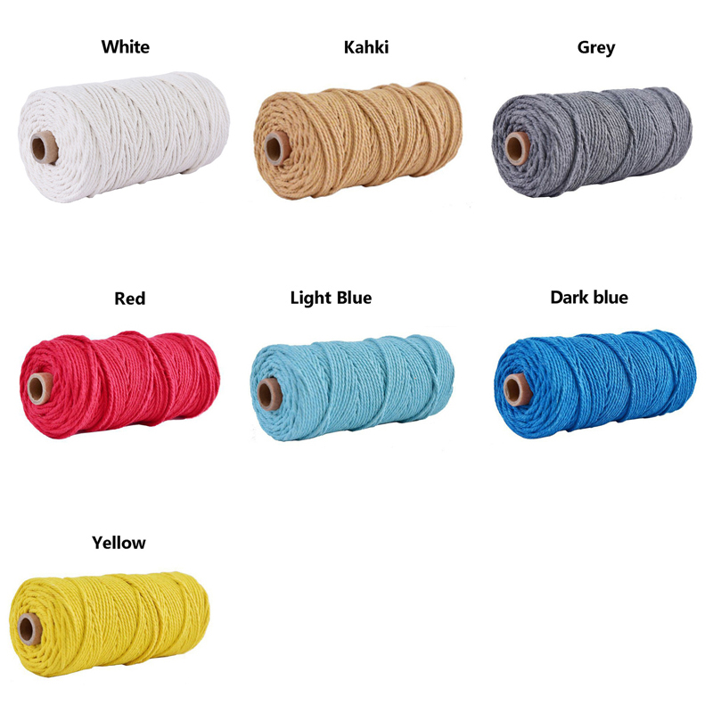 3mm*100MColored Braided Twisted Macrame Cord 3mmx100m  Cotton Rope String Crafts