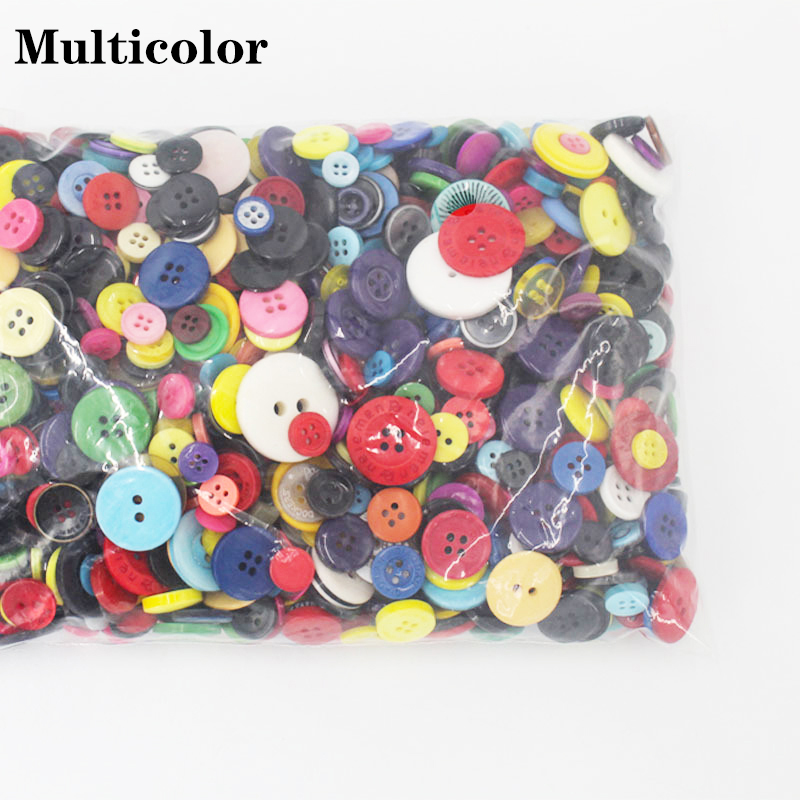 200pcs//Lot Mixed Color Round Resin Buttons Backholes Craft For Sewing Garment