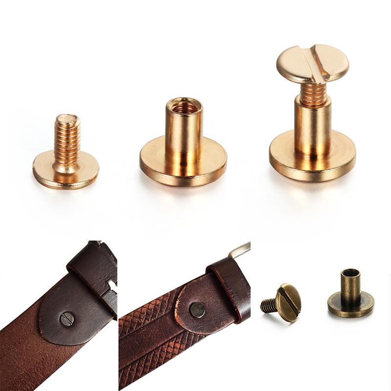 10pcs Leather Craft Flat Belt Screw Chicago Nail Brass Solid Rivet Stud Head Hot
