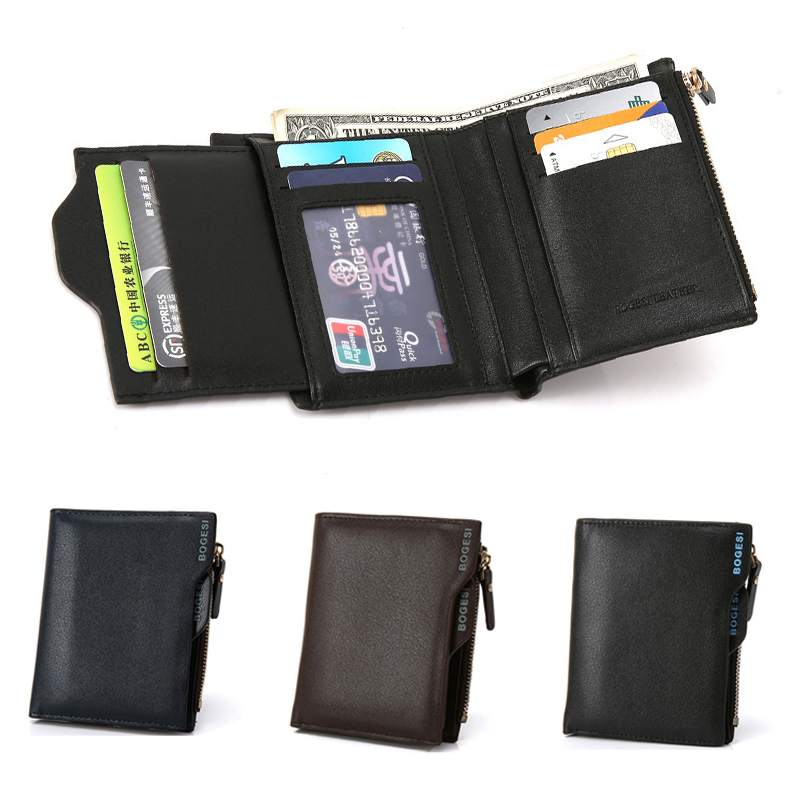 a599f7e3395c Details about Men's PU Leather Short Money Clip Bifold Wallet Coin Purse ID  Card Credit Bag US