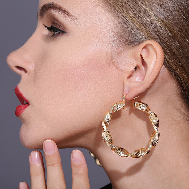 Gorgeous Gold Plated Copper Hoop Earrings Size 40mm50mm Single PairsSet  Wholesale item