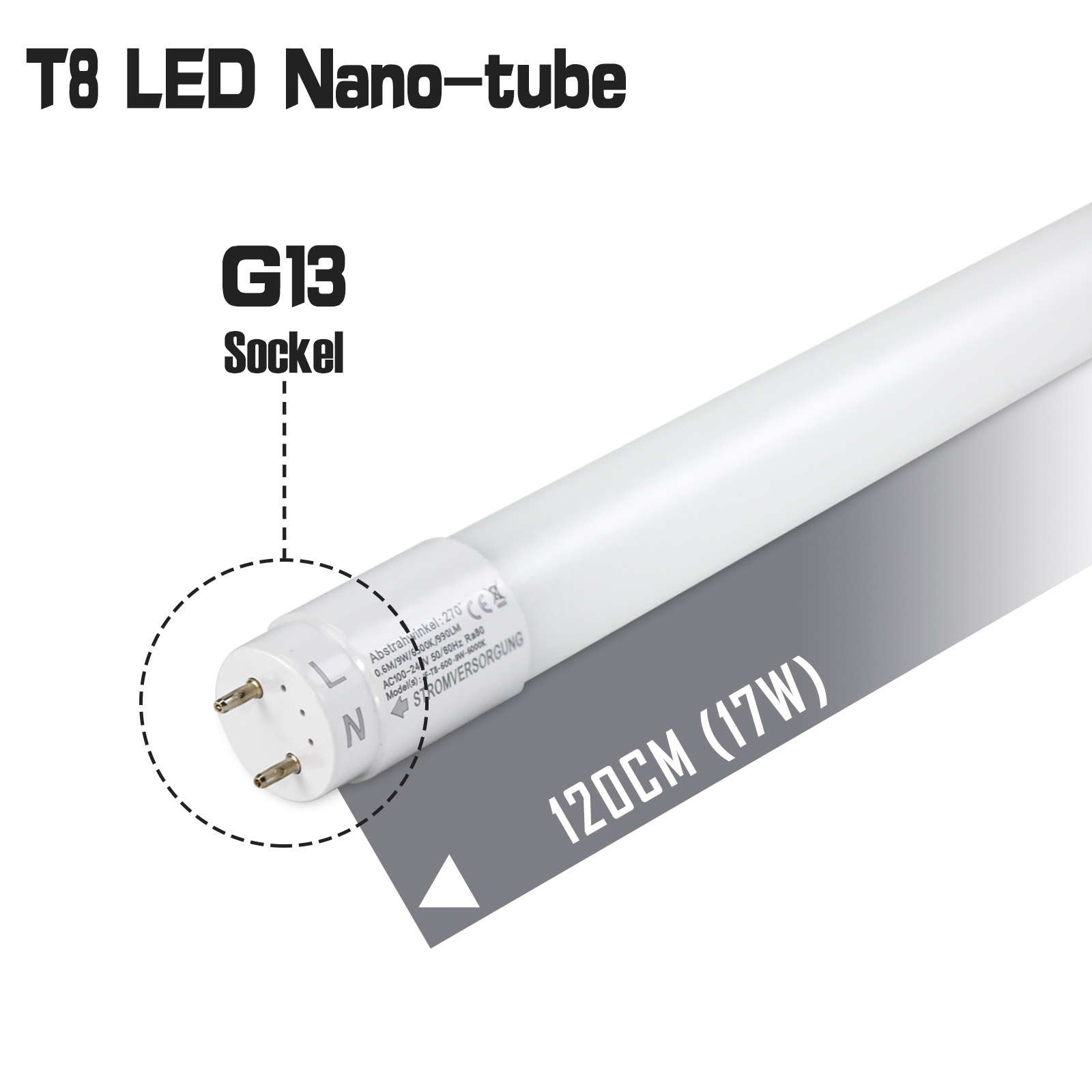 10x 120cm led r hren leuchtstoffr hre neutralweiss t8 led tube r hrenlampe ebay. Black Bedroom Furniture Sets. Home Design Ideas