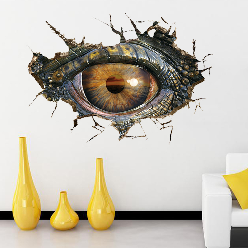 Dinosaur Eyes 3d Wall Stickers Personalized Living Room Decoration