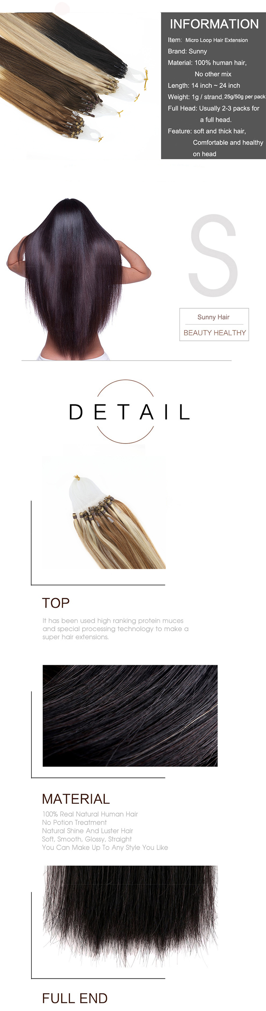Sunny Micro Ring Beads Human Hair Extensions Micro Loop Hair Blonde