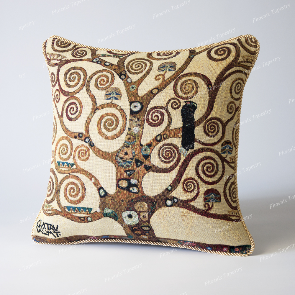 Jacquard Weave Tapestry Pillow Cushion Cover Gustav Klimt