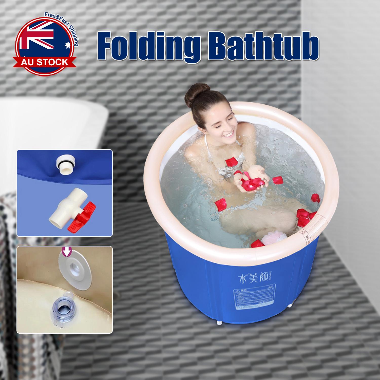 US Folding Bathtub Portable PVC Foldable Water Place Tub Room Spa Massage Bath