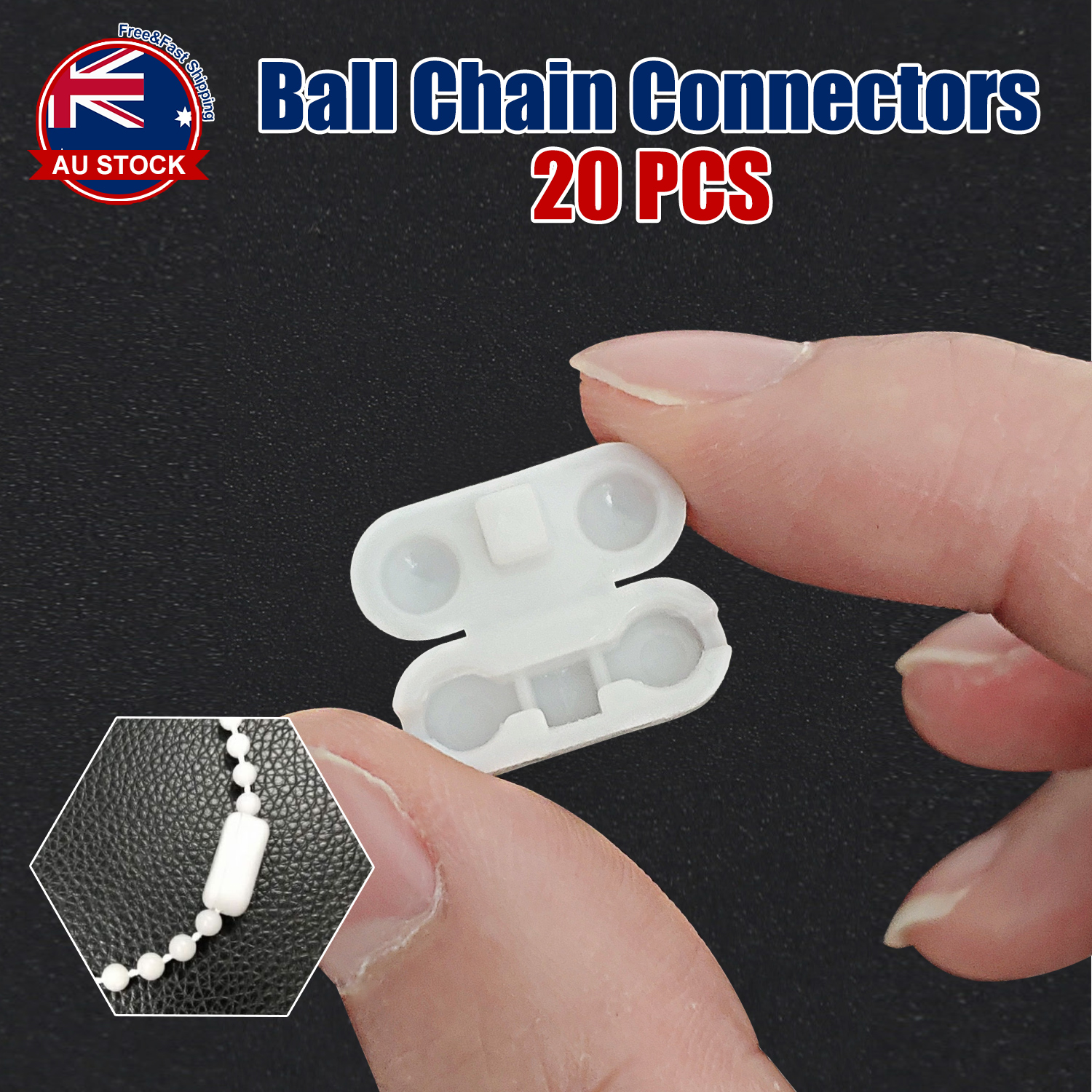 20x Plastic Ball Roller Chain Cord Connector Joiner