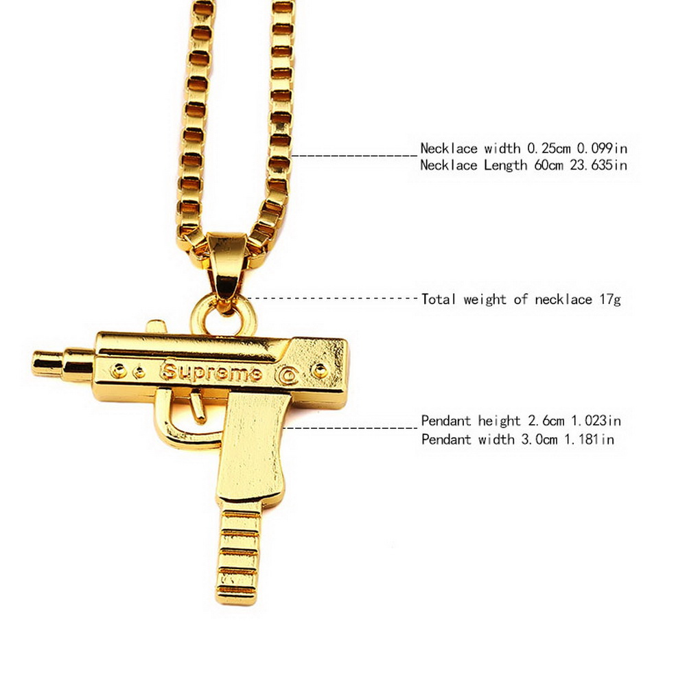 Supreme machine gun gold pendant necklace chain 18kt plated hip hop top quality uzi gun gold pendant necklace chain 18kt gold plated hip hop bling mozeypictures