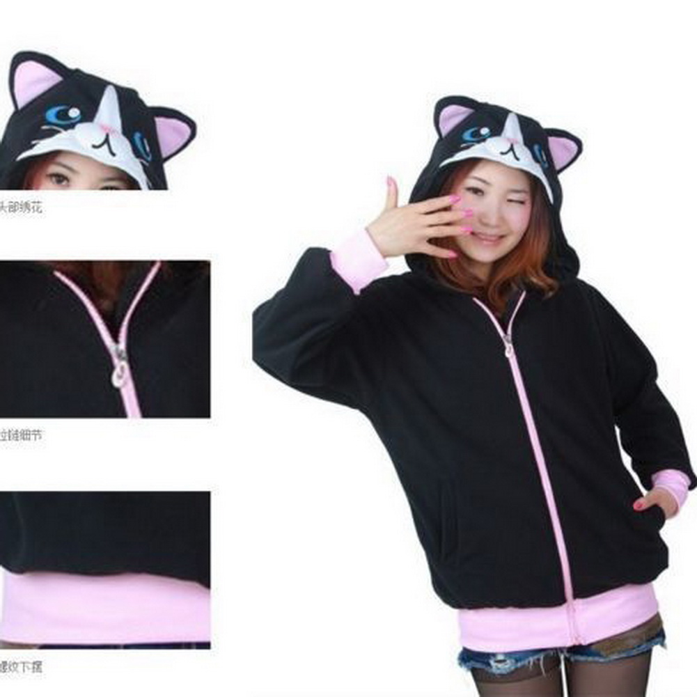 Black hoodie with cat ears