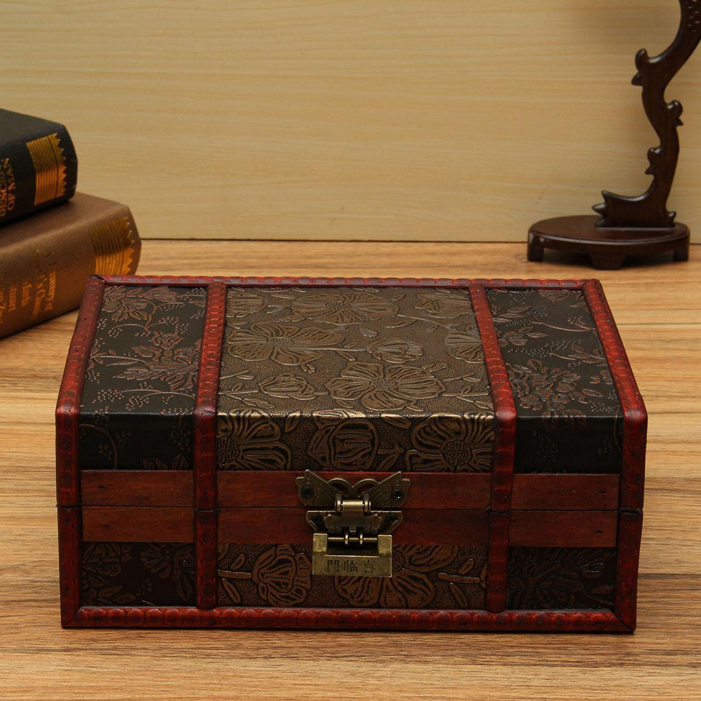 Decorative boxes that lock : Large decorative trinket jewelry lock chest handmade