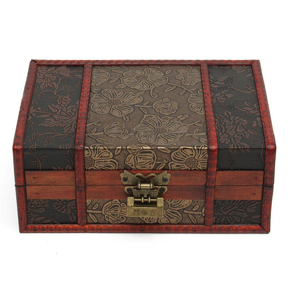 How To Make A Decorative Wooden Box: Large Decorative Trinket Jewelry Lock Chest Handmade