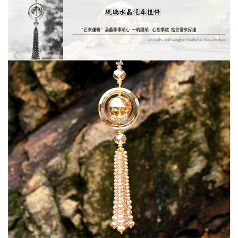 tassel flower mirror colorful with white decoration decor wind ornament chimes pendant item view accessories hanging car in rearview charm rear