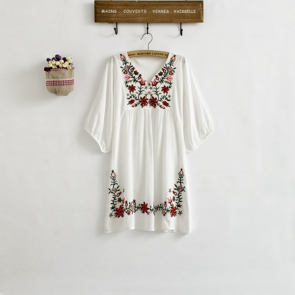 Vintage-70s-Ethnic-Floral-Embroidered-Peasant-Hippie-Mexican-Blouse-Dress-Tops-U