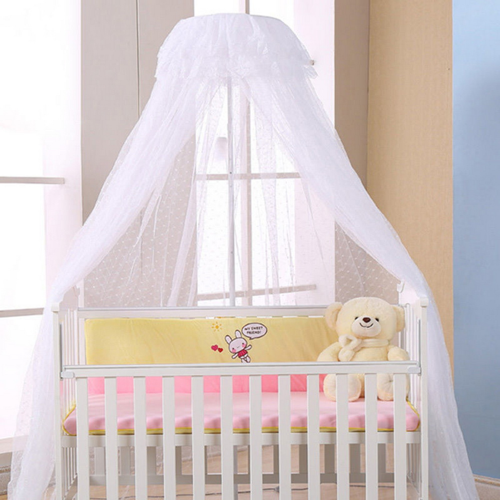 Newest baby crib mosquito net princess dome bed netting for Baby crib net