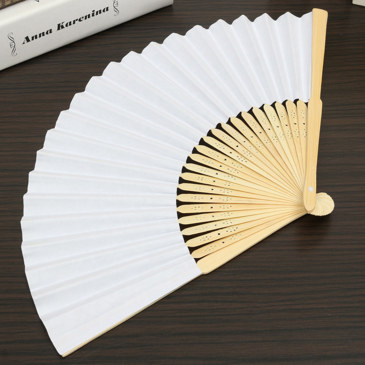 Blank White Chinese Folding Bamboo Fan Retro Hand Paper Fans Wedding ...