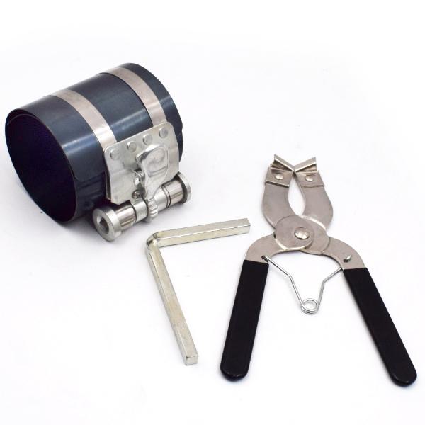 Carbon Steel Piston Ring Compressor Installer Ratchet Plier Remover Engine Tool