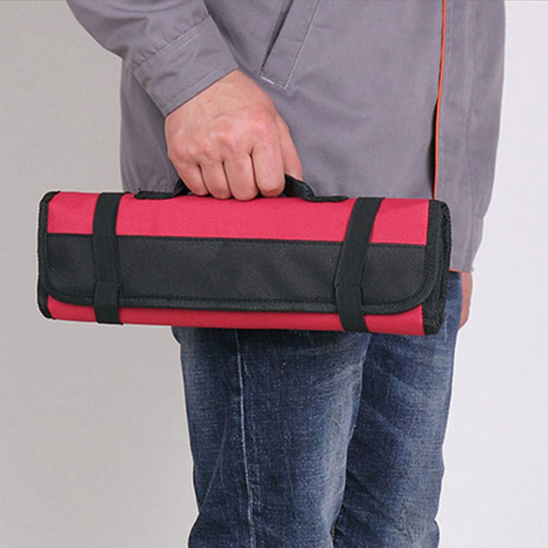 Red Car Multi-Purpose Reel Rolling Tool Bag Wear Pliers Spanner Carry Case Pouch