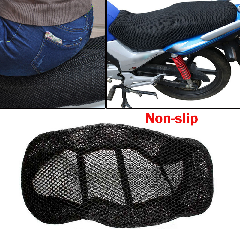 Universal Motorcycle Black 3D Seat Cover Net Breathable  Heat Insulation Sleeve