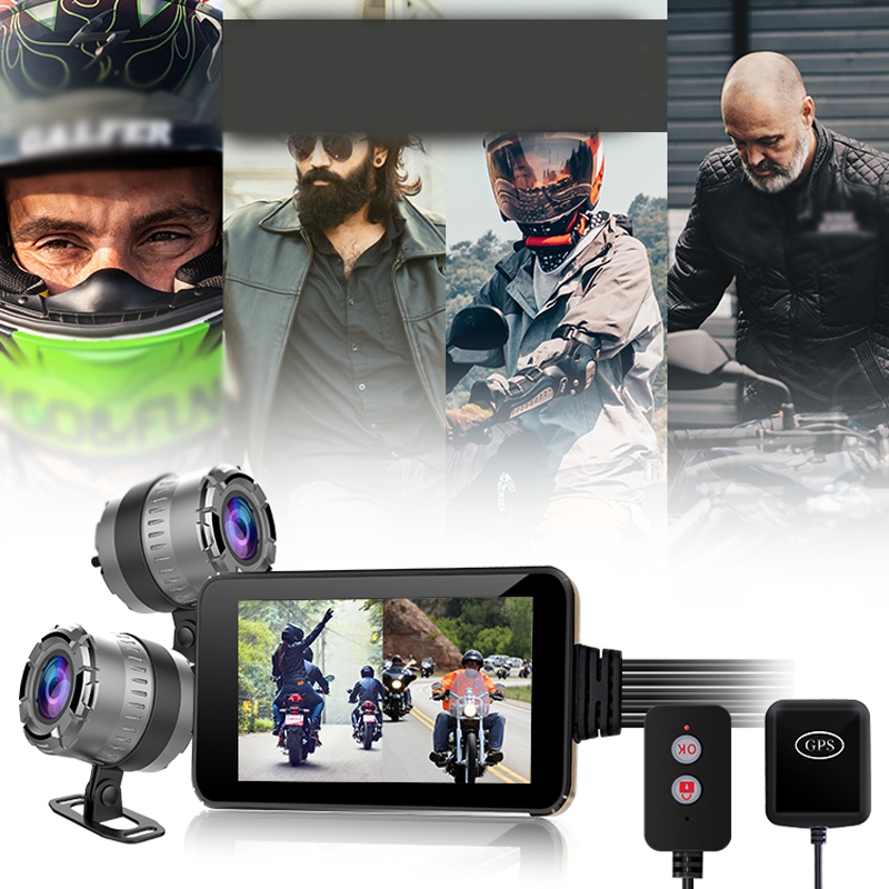 Motorcycle DVR Monitor Dash Cam WiFi Front Rear View Camera GPS Logger Recorder