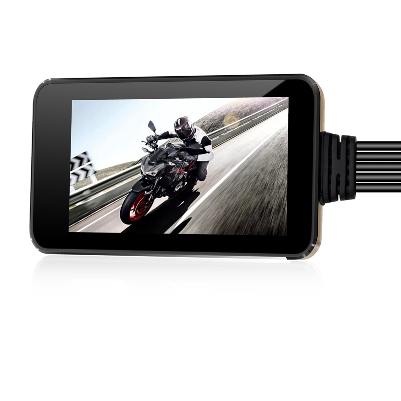 Motorcycle DVR Monitor Dash Cam GPS Recorder with Wifi Front & Rear View Camera