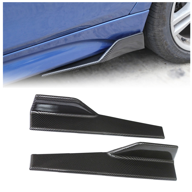 1 Pair Car Left Right Rocker Panels 3D Carbon Fiber Look Side Skirts Car Body Protector Anti-scratch Extension Spoiler Diffuser PP Plastic Material Easy to Install Durable to Use