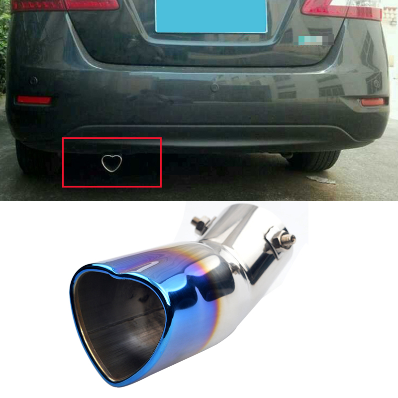 Car Truck Modification Double Outlets Chrome Stainless Steel Exhaust Rear Tail Pipe Tip Tailpipe Muffler Pretector Blue Color Custom Fit for Kia Forte 2008 2009 2010 2011 2012 2013 2014 2015 2016 2017 2018 2019