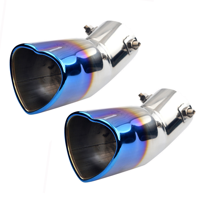Hlyjoon Car Exhaust Muffler Pipe SUS Stainless Steel Universal Car Modified Heart-shape Exhaust Pipe Rear Tip Tail Throat Automobile Rear Muffler Escape Tip Rear Pipe