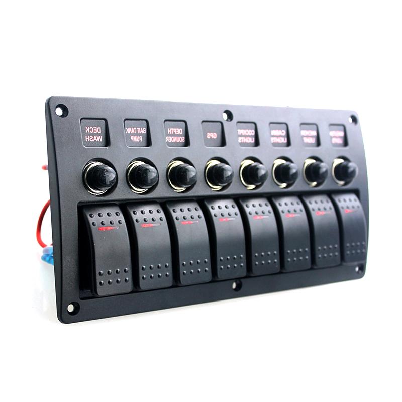 8 Gang 12V-24V Red Led Rocker Switch Panel Circuit Breaker Car Truck Marine Boat