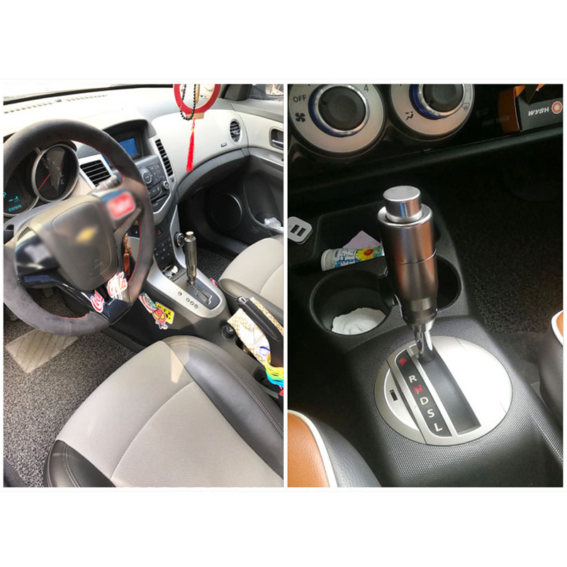 Silver Abfer Automatic Button Shift Knob Car Gear Stick Shifter Knobs Aluminum Alloy Shifting Lever Replacement Fit Most Universal Vehicles Transport