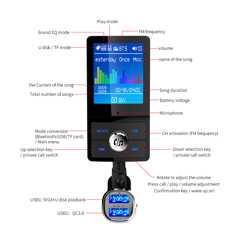 Details about BC43 Support QC3 0 Color Screen Car Bluetooth MP3 USB  Multi-language Card MP3
