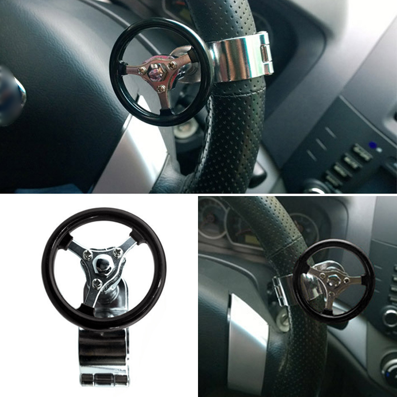 Black Lunsom Ball Steering Wheel Knob Marbling Round Suicide Spinner Turning Grip Helper Driving Power Aid Handle Control Car Booster Fit Universal Vehicle
